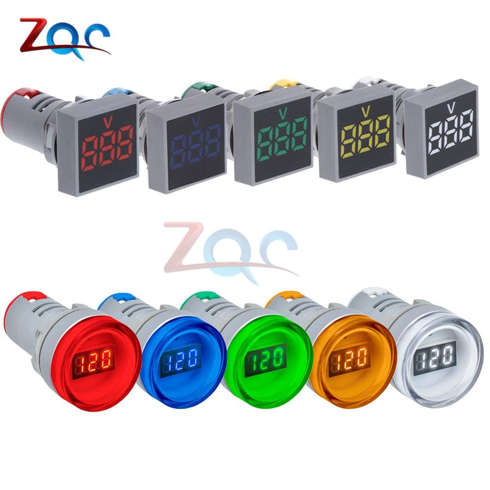 22mm LED Digital Display Voltmeter Gauge Volt Voltage Meter Indicator Signal Lamp Lights Tester Combo Measuring Range 12-500V AC