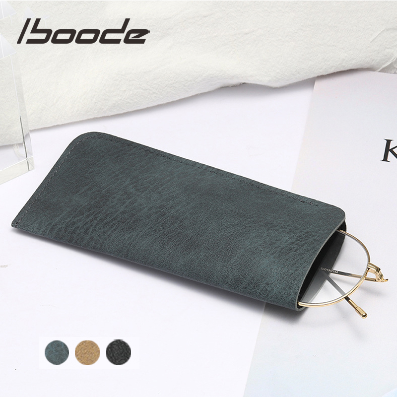 Iboode Soft Leather Reading Glasses Bag Case Waterproof Solid Sun Glasses Pouch Simple Eyewear Storage Bags Eyewear Accessories