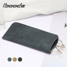 Iboode-Bolsa de cuero suave para gafas de lectura, estuche resistente al agua, sólido, sencillo, almacenamiento, accesorios