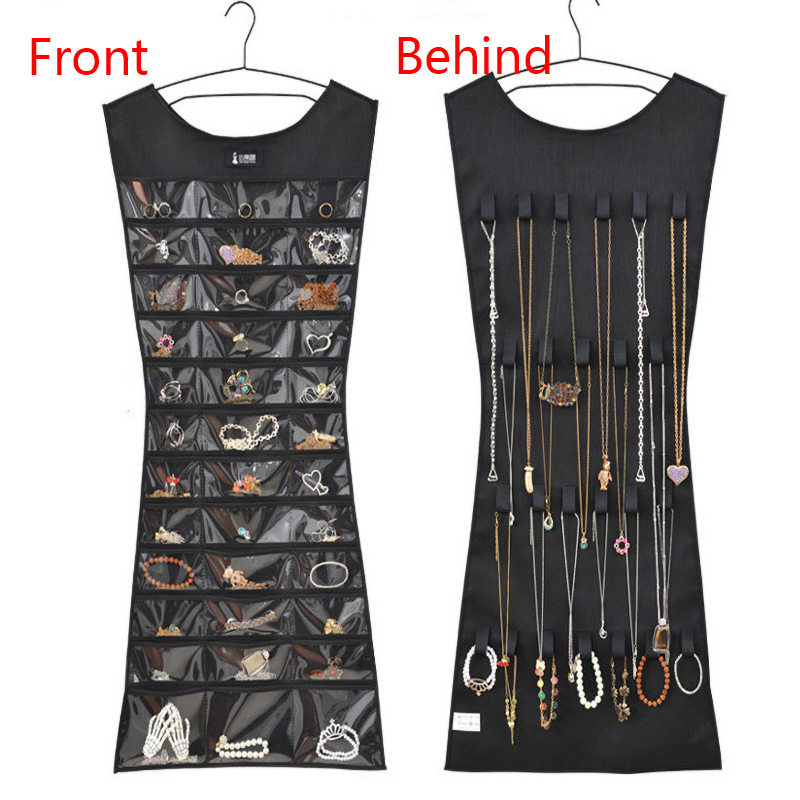 1PC 30 Pocket 24 Hanging Loop Storage Bag Jewelry Holder Necklace Bracelet Earring Ring Organizer Jewelry Display Bag 83*45cm