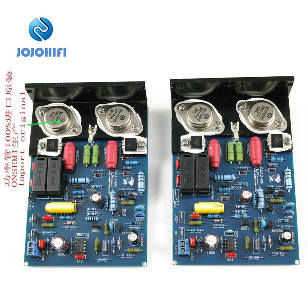 One Pair QUAD405 CLONE MJ15024 100W 8R Dual Channel Amplifier Board w/Angle Aluminum detailed AP Test Data w/  Insulation sheet