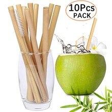 Pailles réutilisables en bambou naturel, 10 pièces/ensemble, 20cm, écologique, pour Cocktail, pour boire, fête, avec brosse de nettoyage