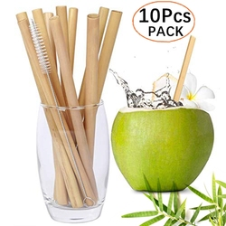 10Pcs/set 20cm Reusable Bamboo Straws Eco-friendly Bar Party Drinking Straw with Cleaning Brush Natural Bamboo Cocktail Straws