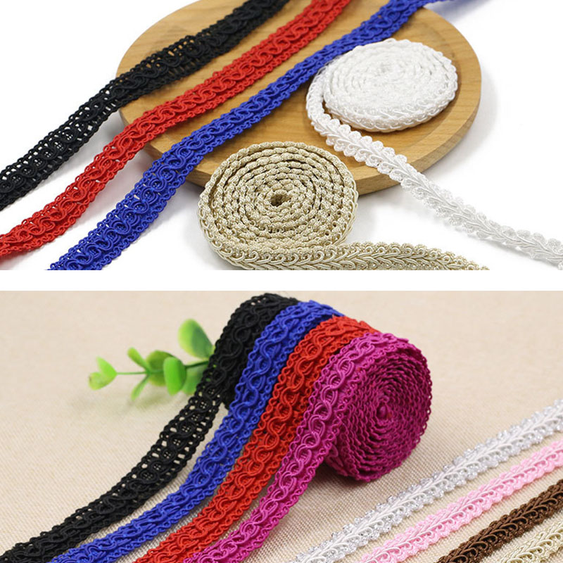 7 Yards/lot Multicolor Nigerian Lace Trim Ribbon Curve Sewing Braided Lace Wedding Craft DIY Clothes Accessories Home Decor