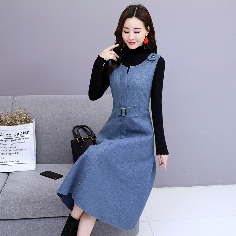 Woolen Dress WOMEN'S Suit 2019 Autumn And Winter New Style Korean-style Elegant Slimming Mid-length Suspender Skirt Two-Piece Se