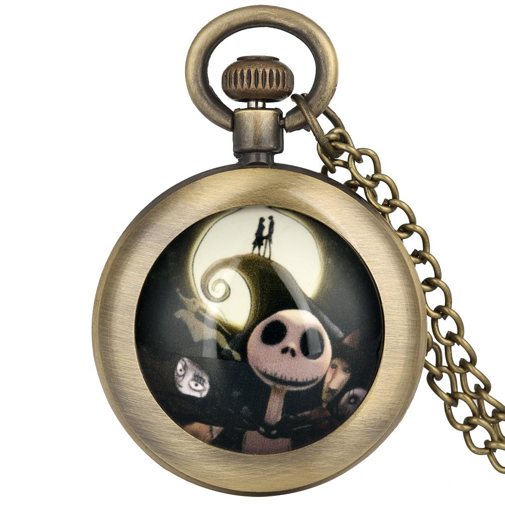 The Nightmare Before Christmas Pocket Watch For Men Women Bronze Pendant Clock Children Gift Relojes De Bolsillo Para Hombre