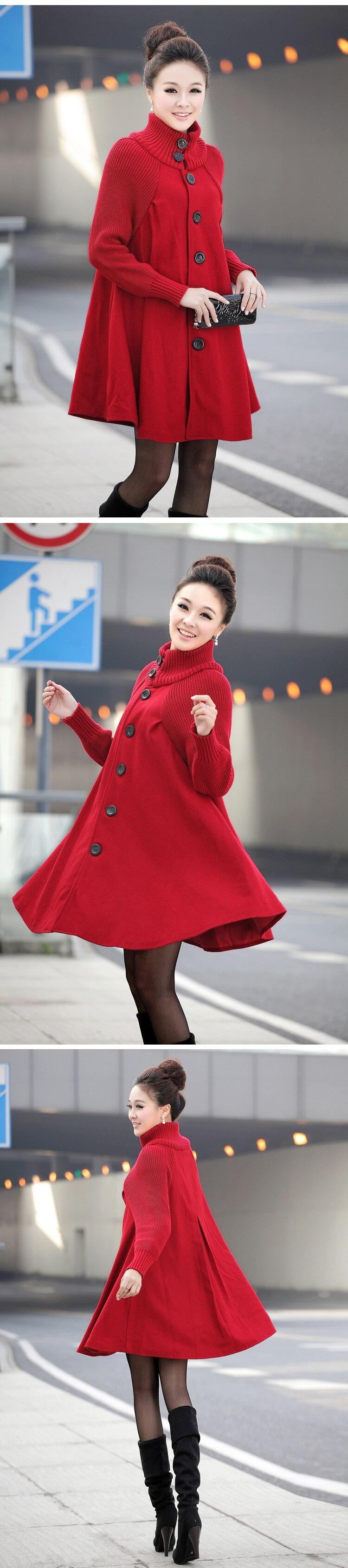 Autumn Winter Coat Women 2019 Casual Vintage Patchwork Cloak Plus Size Coats Female Elegant Warm Black Long Coat casaco feminino 75