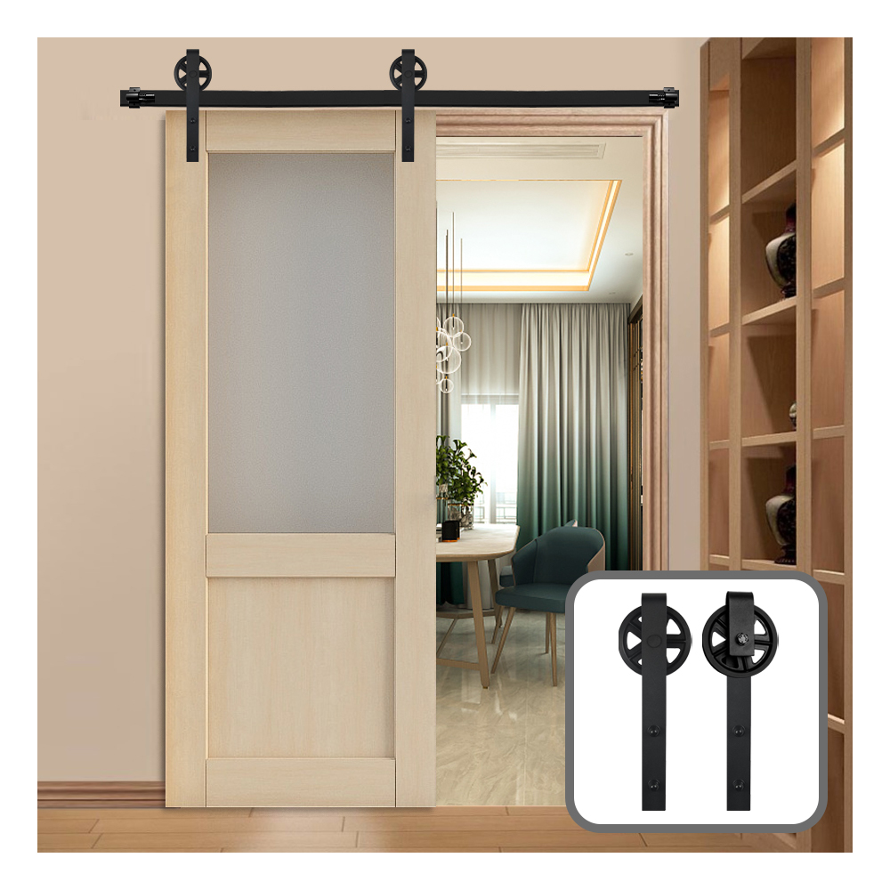 Gifsin Vintage Style Industrial Wheel Sliding Barn Wood Door Hardware Track Kit J-Shaped with Big Rollers for Single Door