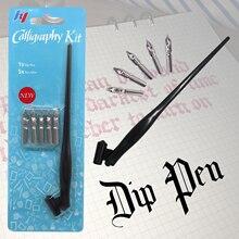 New Fountain Pen Calligraphy Drawing Dip Ink 5Pcs Nib Pen Set Signature Writing Antique Elegant Gifts