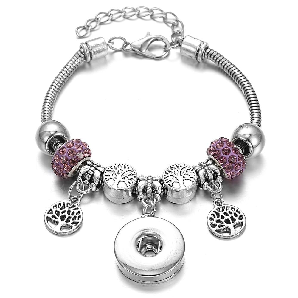 New Snap Bracelets for Women Tree of Life Metal Snap Button Bracelet Bangle Fit 18MM Snap Jewelry Bracelets Beads Making Jewelry