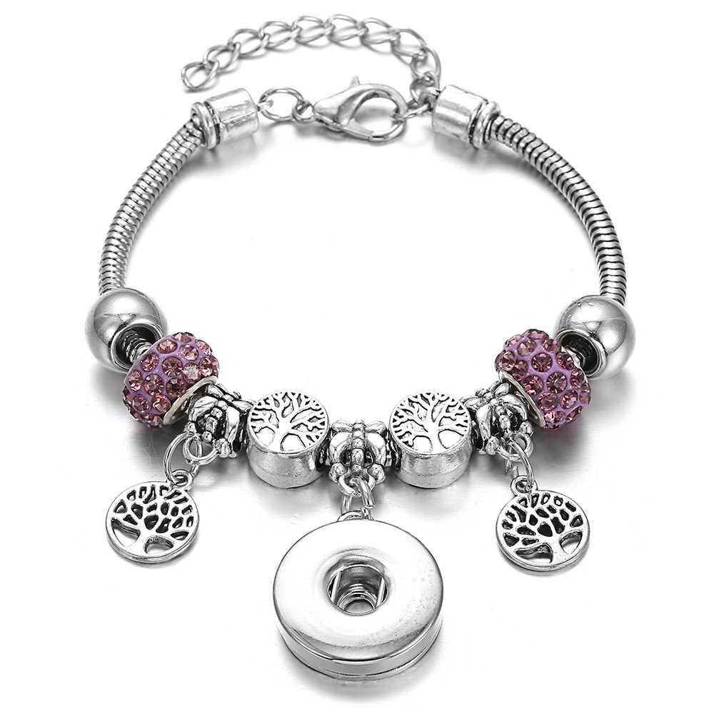 Nuevas pulseras a presión para mujer árbol de la vida de Metal botón a presión pulsera ajuste 18MM Snap joyería pulseras cuentas fabricación de joyas