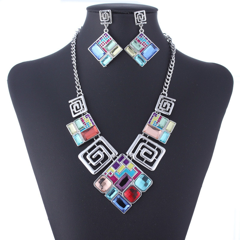 Big-Pendant-Earrings Wedding-Jewelry-Sets Necklace Geometric Ethnic Glass Women for Creative