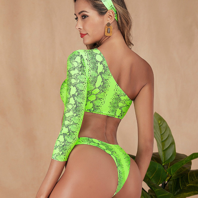Snake Print Long Sleeve Crop Top + Thong Bikini Set 10