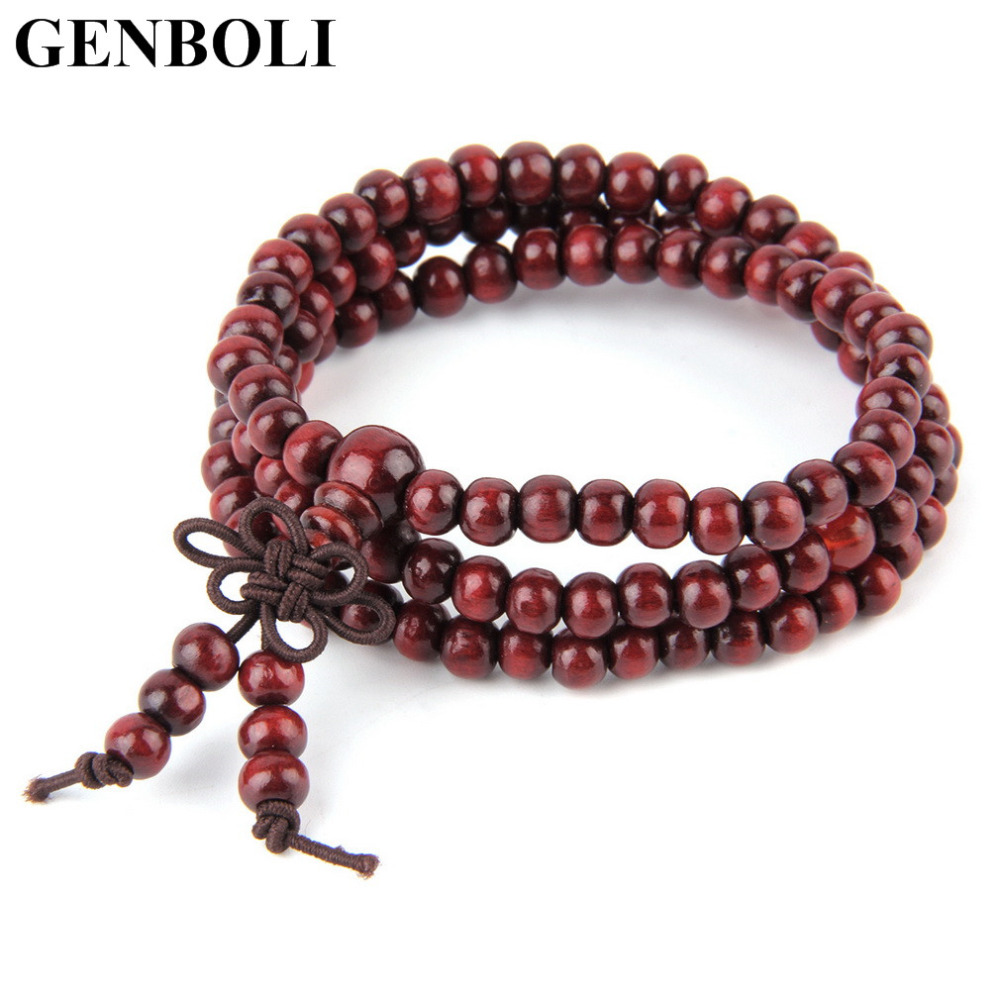 4 Colors Unisex Sandalwood 6mm * 108 Buddhist Prayer Beads Mala Multi-layer Wood Strand Beaded Bracelet top quality