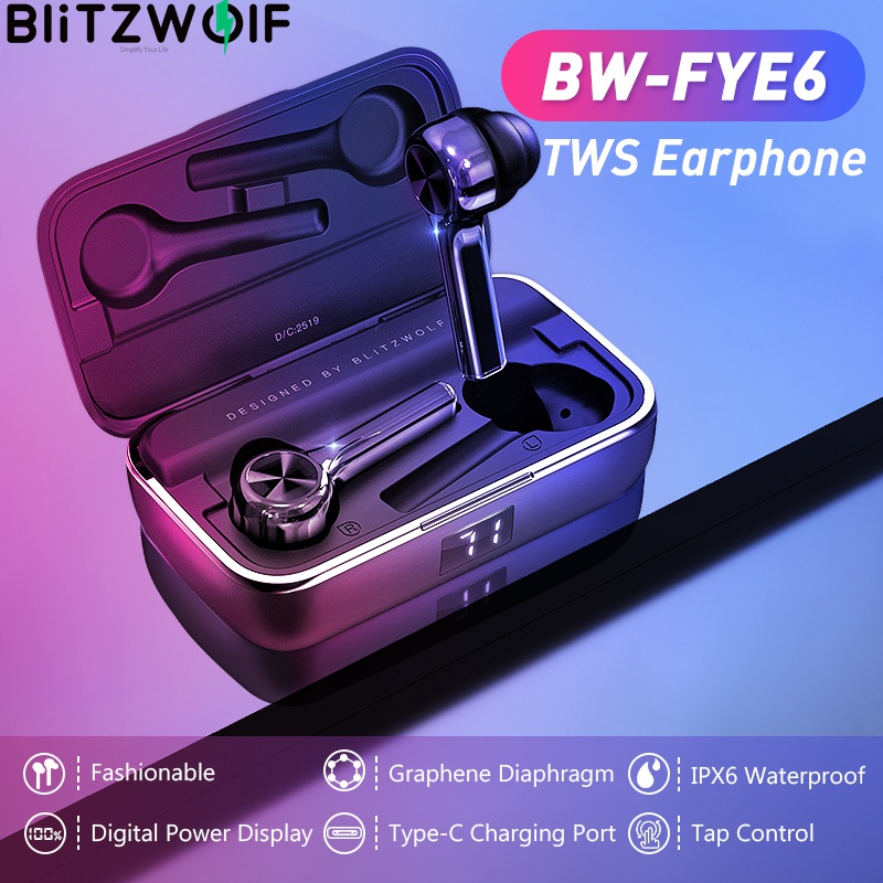 BlitzWolf In-ear Earphone TWS Wireless Touch Control Graphene Diaphragm Type-C Charging Real-time Battery Status Headphones