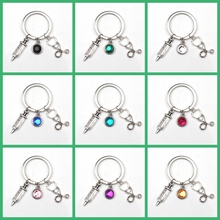 New Design 9 Color Crystal Stone Nurse Medical Box Key Chain Needle Syringe Stethoscope Cute Keychain Jewelry Gift Charm Bag