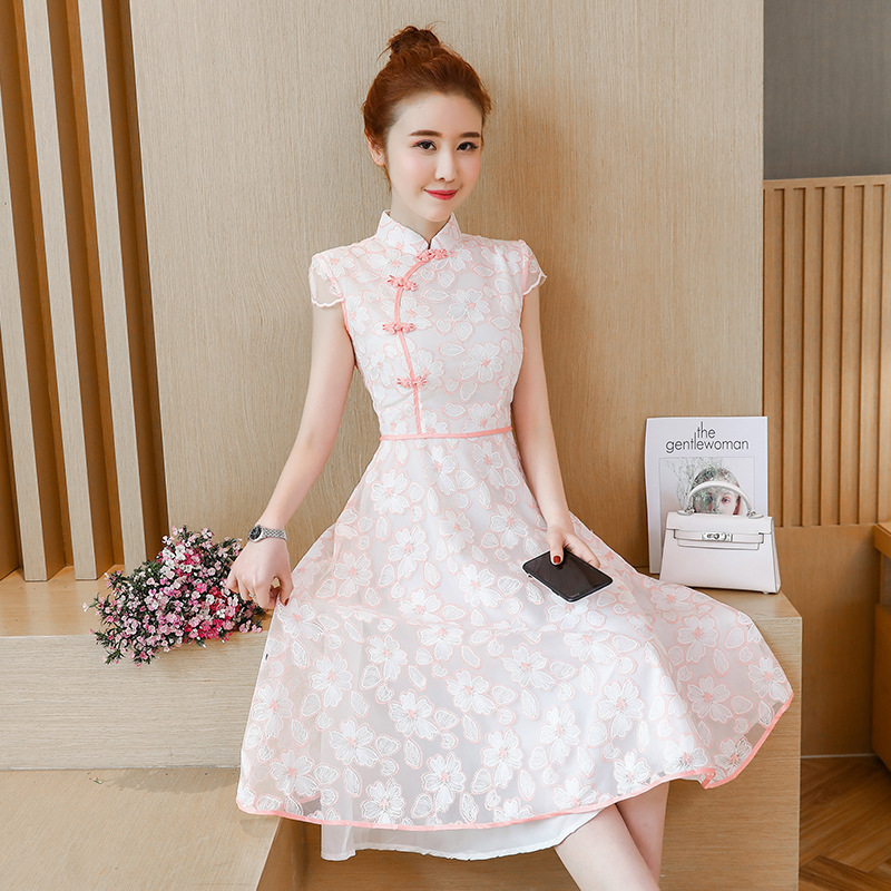 2019 Summer New Style Chinese-style WOMEN'S Dress Lace Embroidered Improved Edition Cheongsam Dress Mid-length Skirt