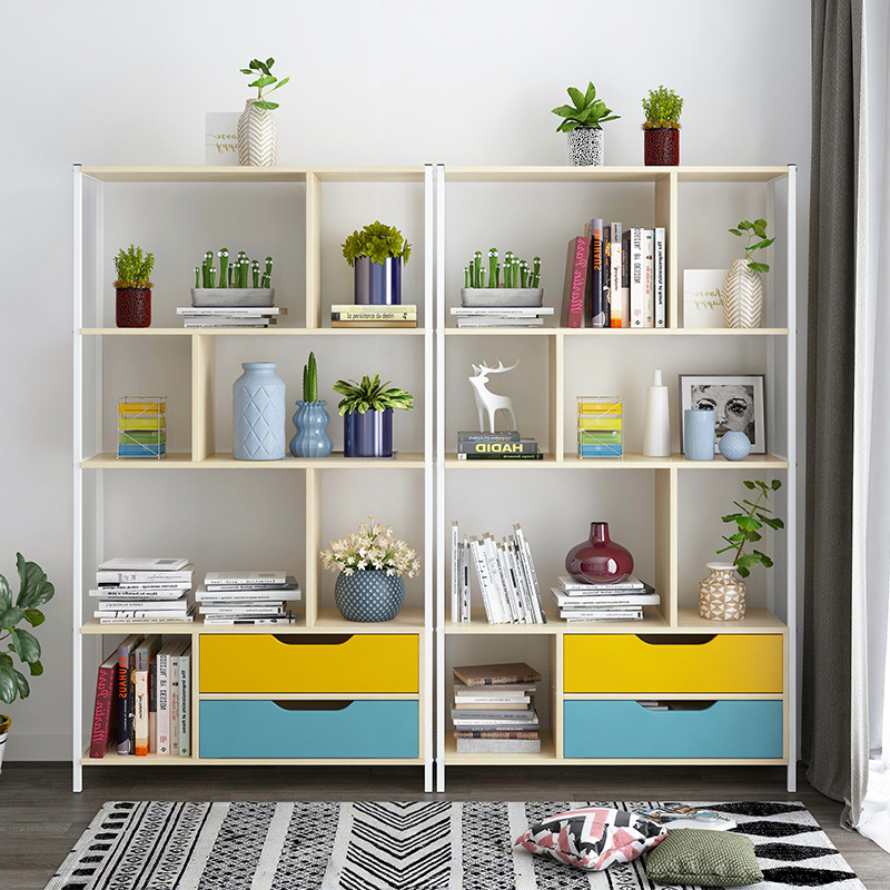 Simple Bookcase Minimalist Modern Floor Bookcase Multi-functional Students Storage Shelf Household Province Space Bedroom Small