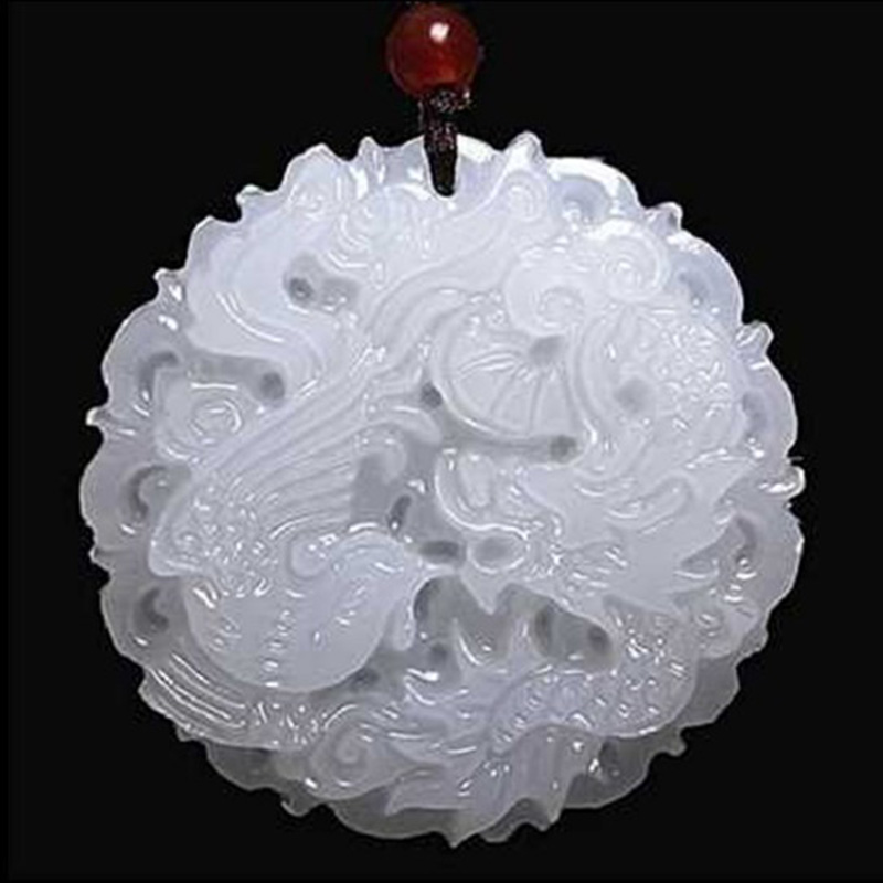 Natural White Jade Dragon Phoenix Pendant Jadeite Necklace Charm Jewellery Fashion Accessories Hand-Carved Luck Amulet Gifts