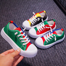 Toddler Infant Kids Baby Mixed Colors Casual Lace Up Canvas Shoes Color matching low help children canvas shoes new shoes(China)