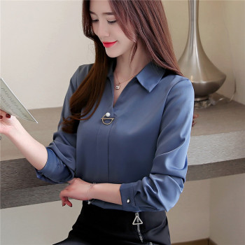 2020 Spring Women Shirt Female Blouse Tops Long Sleeve Casual Turn-down Collar OL Style Women Loose Blouses women autumn casual simple all match loose blouse long sleeve plaid long turn down collar shirts