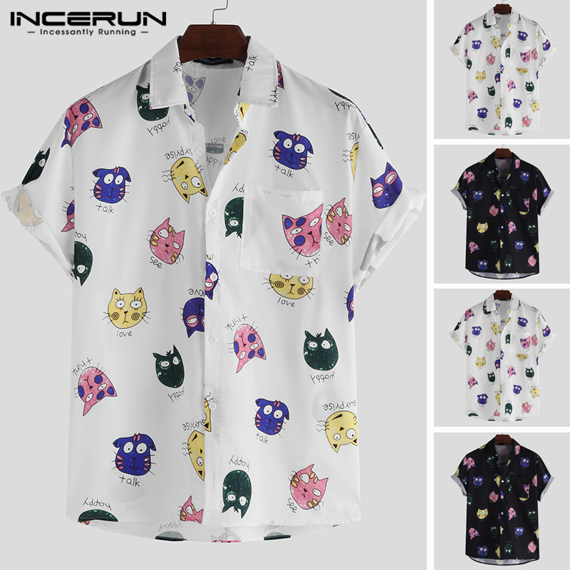 INCERUN Fashion Men Cartoon Printed Shirt Short Sleeve Loose Casual Streetwear Hawaiian Shirts Men Summer Couple Tops Camisas