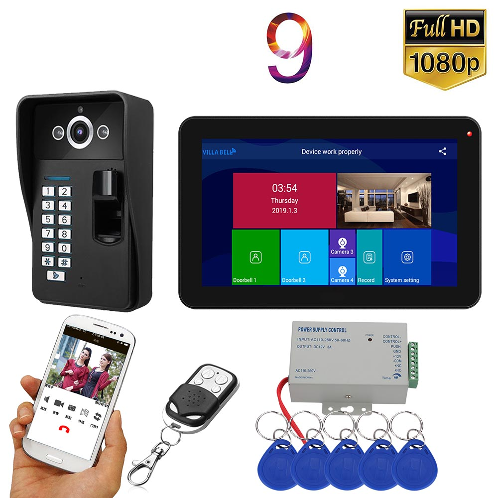 9inch Record Wifi Wireless Video Door Phone Doorbell Intercom Entry System With Fingerprint RFID 1080P Wired Camera Support  APP