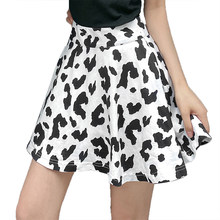 New Fashion Women Girls Sexy Black and White Cow Print High Waist Pleated Skirt Summer Slim Casual Skirt 2020 New Arrival(China)