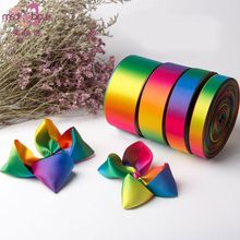 50 Yards Double Sided Polyester Satin Ribbon Roll Gradient Rainbow Colorful Printed for DIY Handmade Hair Bow Gift Wrapping Deco