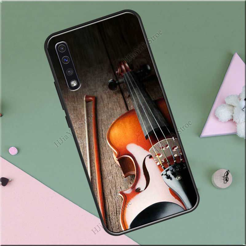 Elegant Wooden Violins Bow Sheet Music Case For Samsung Galaxy A51 A71 A70 A50 A40 A30S S8 S9 S10 Plus Note 10 S10e S20 Ultra