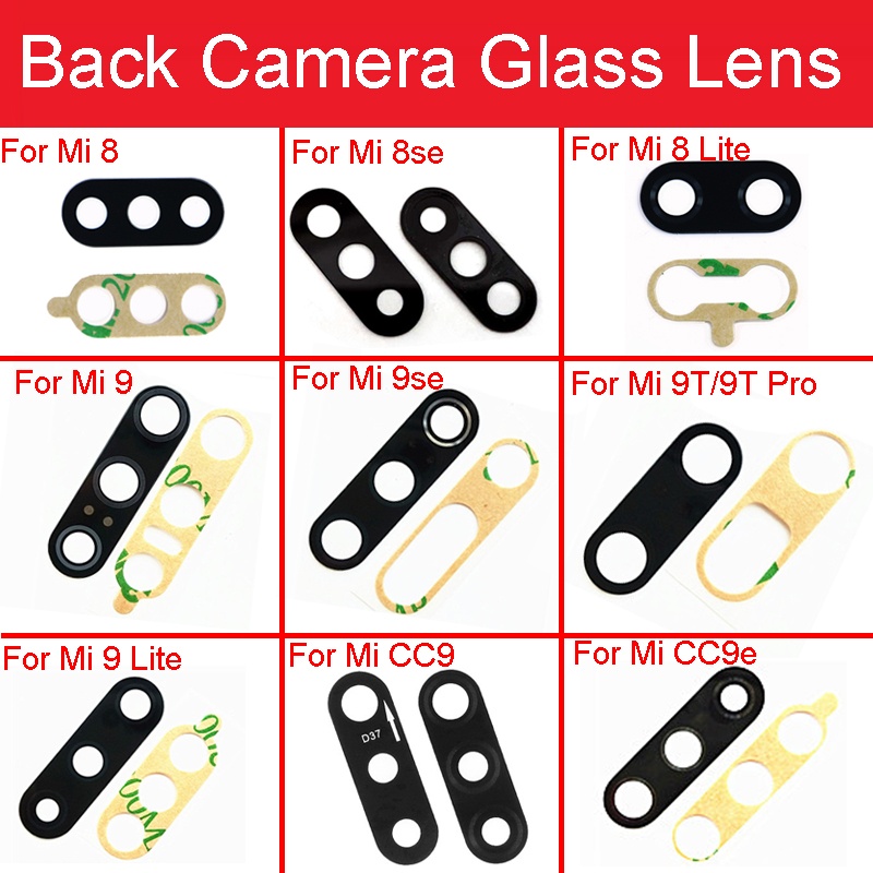 Back Rear <font><b>Camera</b></font> Glass Lens with Sticker Glue For <font><b>Xiaomi</b></font> <font><b>Mi</b></font> 9 8 lite Se A1 5X A2 6X 6 <font><b>5</b></font> 5S Plus CC9e 9T Pro Replacement Parts image