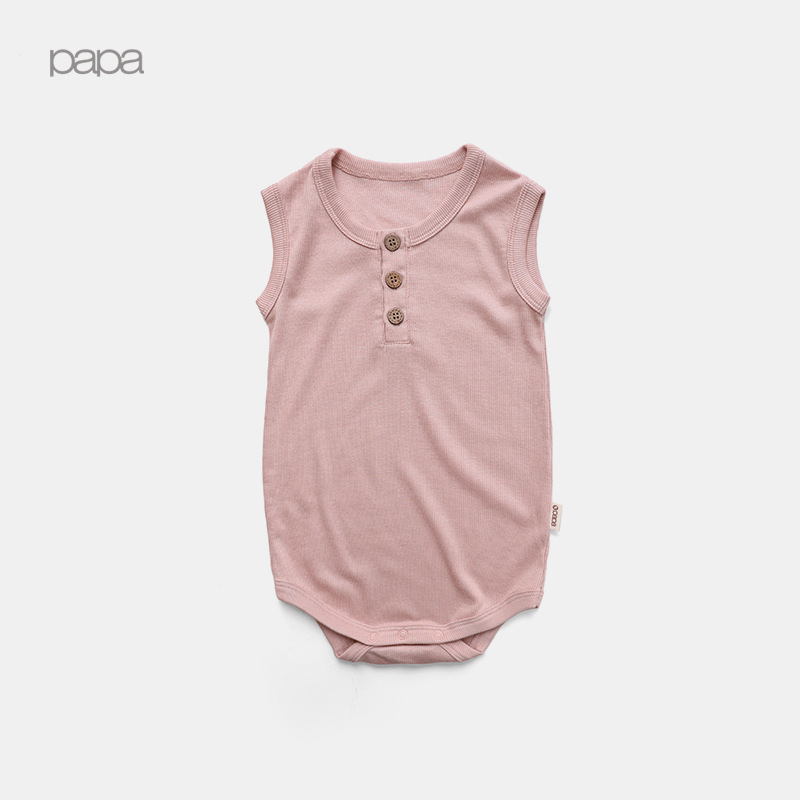 Baby Sleeveless Summer Solid Color Men And Women Onesie Infant Universal Crawling Clothes Cotton
