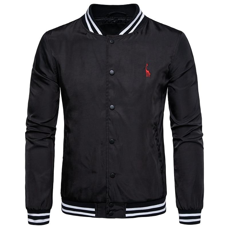 2019 Fashion Giraffe Brand Baseball Jacket Men Casual Stand Colar Bomber Jacket Waterproof Sporting Mens Jackets US Size