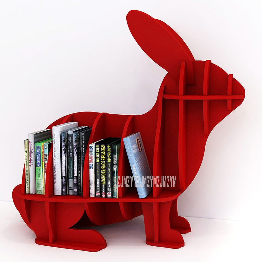 L Creative Animal-shaped Rabbit Bookcase Kindergarten Kids Furniture Children's Bookshelf Rack Home Decoration Floor Ornaments