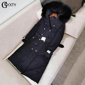 Image 3 - GBYXTY manteau Long en duvet pour femmes, Trench Coat, à capuche, épais, en fourrure de renard, doudoune en duvet doie, marque ZA1750, 2019