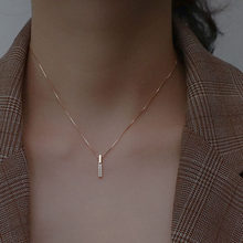 Fashion 925 Sterling Silver Necklace Simple Geometric Cubic Zircon Choker Shiny Exquisite Clavicle Chain necklace For Women 2021