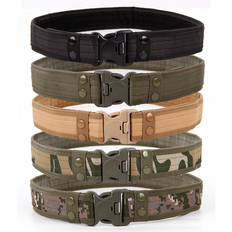 New Army Style Combat Belts Quick Release Tactical Belt Fashion Men Canvas Waistband Outdoor Hunting Fan Hook & Loop Waist 130cm