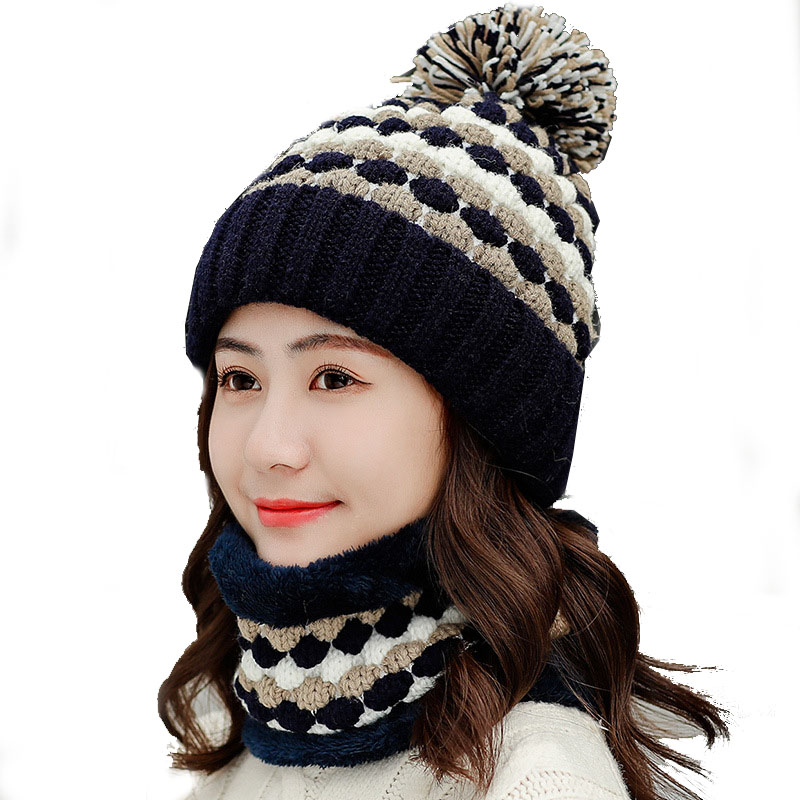 2Pcs Winter Scarf Snood Women Thicken Warm Knitted Velvet Beanies Hats Ladies Girls Pompon Skullies And Beanies Navy Pink