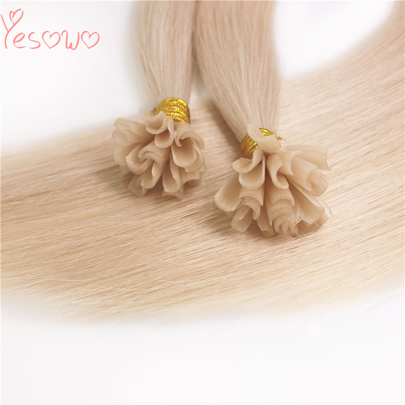 Yesowo 1.0g/strand Blonde Cuticle Hair Extension U Tip Brazilian Straight Italian Keratin Pre Glued Quality Hair Extensions