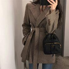 Woolen Coat Female 2019 Autumn and Winter Retro Casual Sashes Thick Woolen Blazer Short Chic Suit Jacket Women's Clothing f2008