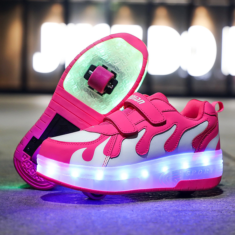 RISRICH Kids LED Light Roller Shoes For Boys Girls Luminous Light Up Skate Sneakers With On Wheels Kids Roller Skates Pink Shoes