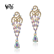 VEYO ZA Crystal Dangle Earrings for Women AB Color Vintage Rhinestone Fashion Jewelry New