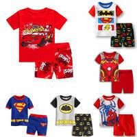 2Pcs/set Summer Mickey cartoon cars children clothing set kids casual boys clothes sport suits SpiderMan Cotton Batman outfit