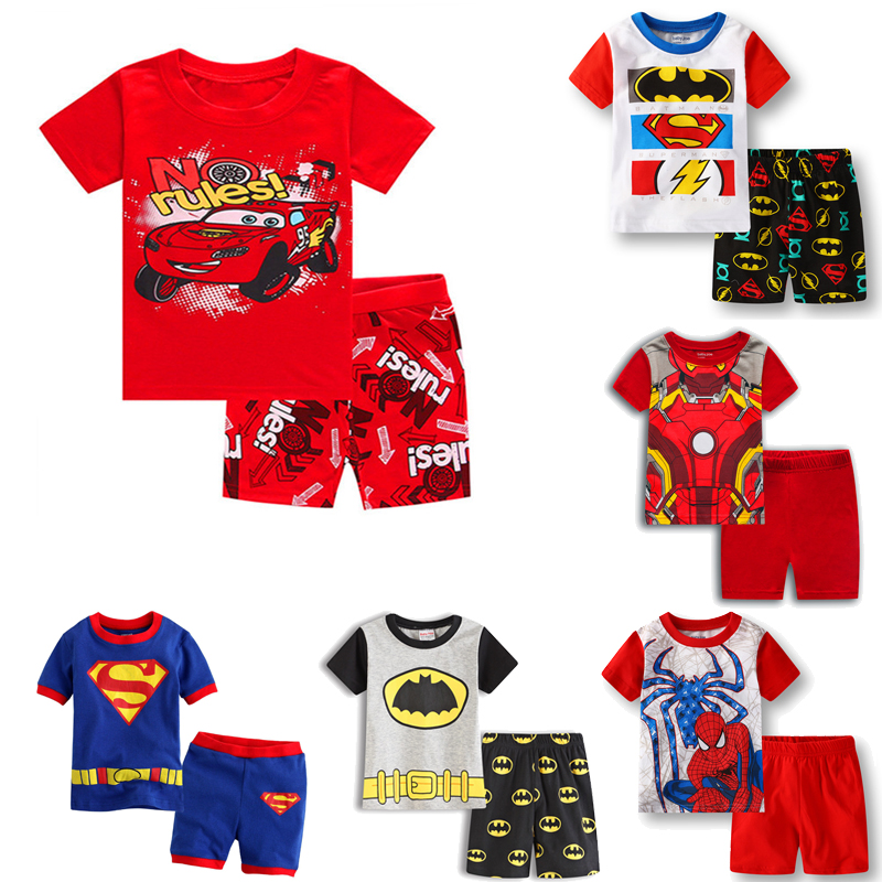2Pcs/set Summer Mickey Cartoon Cars Children Clothing Set Kids Casual Boys Clothes Sport Suits Spider Cotton Batman Outfit