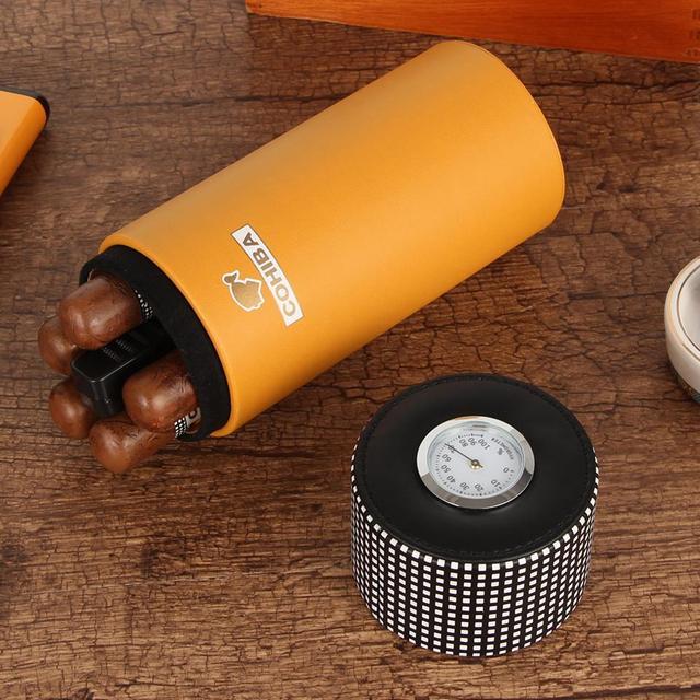 COHIBA Leather Travel Humidor Cigar Box Cedar Wood Portable Cigar Case Jar W/Humidifier Hygrometer Humidor Box Fit 5 Cigars 5
