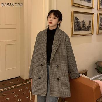 블레 이저 여성 복고풍 격자 무늬 가을 기본 빈티지 세련된 숙녀 Outwear 노치 영국 스타일 패션 여성 의류 봄
