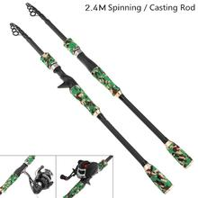 2.4m Green Camouflage Color Carbon Fiber Lure Fishing Rod Spinning Casting Rod 6 Section Telescopic Ultra Light Fishing Pole цена 2017