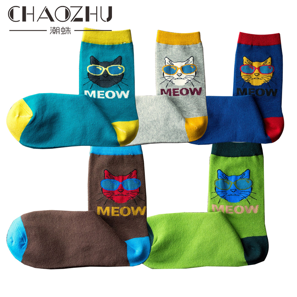 CHAOZHU Men's Funny Cartoon Mr. Cat With Glasses Cotton Knitting Soft Autumn Winter Meow 5 Colors Male Happy Socks Calcetines