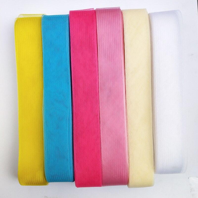 1pcs 부드러운 머리 말 메쉬 꼰 폴리 에스터 메쉬 패브릭 플랫 일반 crin 리본 공예, 여성 diy 모자 #12 색상 다양 한 크기