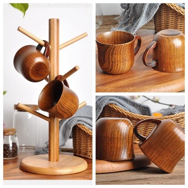 Natural Wood Cup Primitive Handmade Spruce Wooden Cup Breakfast Beer Milk Drinkware Green Tea Cup Water Coffee Mug 4